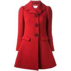 RED VALENTINO ribbed a-line overcoat found on Polyvore