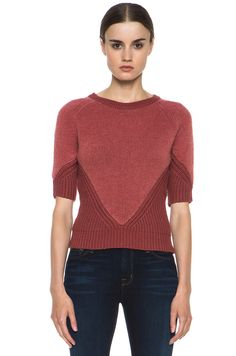 Carven|Contrasted Knit Short Sleeve Sweater in Rust monochromatic