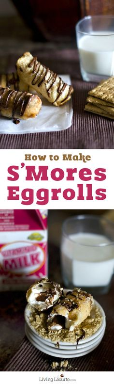 S'Mores Egg Rolls Recipe. Creamy chocolate, marshmallows and graham crackers wrapped inside of a warm crispy eggroll shell is a mouthwatering dessert!