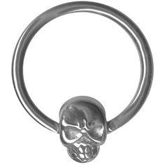 Amazon.com: Skull Cartilage Earring- Skull Captive Ring-Nipple Ring -Nose-Lip Hoop-Septum Ring-Stainless Steel Hoop (H. 16 gauge 5/8 inch): Jewelry