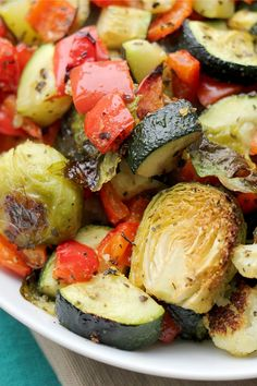 A hot oven and a sprinkling of herbs give autumn vegetables sweet, delicious flavor. This roasted vegetables side dish is a perfect addition to roast chicken or pork.