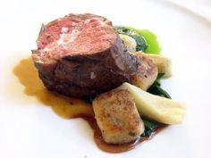 Herb Crusted Lamb Ribeye with Black Olive Gnocchi and Roasted Artichoke