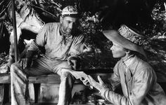 Not published in LIFE. Humphrey Bogart and Katharine Hepburn on location in Africa for the filming of The African Queen, 1951.