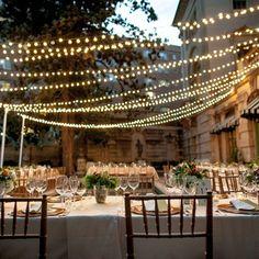 Outdoor String Reception Lighting / Anderson House DC Wedding / Karson Butler Events