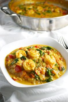 Coconut Shrimp Curry with Red Pepper and Spinach | stuckonsweet.com  *sub peanut oil for vegetable oil