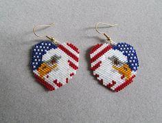 National Heart Earrings in Delica Beads by DsBeadedCrochetedEtc