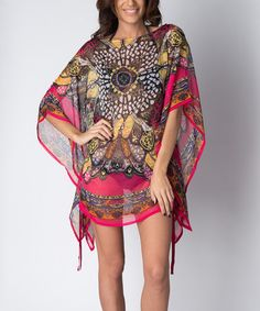 Fuchsia Peacock Cover-Up would be great as a tunic over a turtle neck paired with leggings and high boots in winter. From Zulily