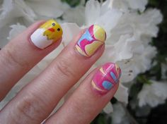 Easter Chick Water Marbling Nail Art by luxuriousnails - Nail Art Gallery nailartgallery.nailsmag.com by Nails Magazine www.nailsmag.com #nailart