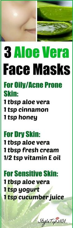 3 aloe vera face masks for every type of skin will leave your skin radiant and glowing! No matter if you have acne problem, oily, dry, or sensitive skin.