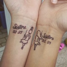 Sisters tattoos - sisters on a swing and years of births