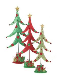 """$64.99-$74.99 3 Mod Holiday Whimsical Glittered Table Top Christmas Trees 21.5"""" - 29.5"""" - From the Mod Holiday Collection Item #45276 Features three different style whimsical,  festive holiday table top Christmas trees, the perfect accent to spruce up any room for the holidays Dimensions: 21.5""""H - 29.5""""H Material(s): metal http://www.amazon.com/dp/B0064K0EN8/?tag=pin2wine-20"""