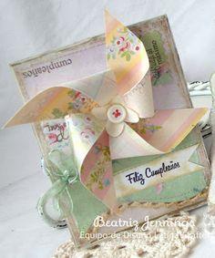 Adorable birthday card by Beatriz Jennings ... love the pinwheel!