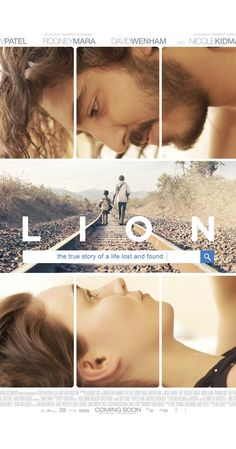 "Lion tagline: ""The true story of a life lost and found"" directed by: Garth Davis starring: Rooney Mara, Nicole Kidman, Dev Patel, Nawazuddin Siddiqui (I cried during this film. Film Lion, Lion Full Movie, Movies To Watch, New Movies, Good Movies, 2017 Movies, Imdb Movies, Movies Free, Nicole Kidman"