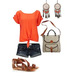 Orange and shorts, created by jessica-wagstaff.polyvore.com