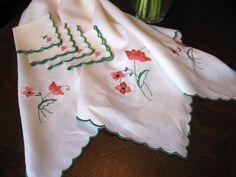 Stunning Antique/Vintage EMBROIDERED PINK FLORAL LINEN Tablecloth-4 Napkins!