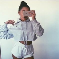 Casual Solid Color Ripped Scoop Neck Leaky belly button Hoodie Sweatshirt Top Sweater