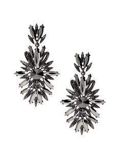 Add these silver metallic fleur drop earrings to your outfit for some extra sparkle and shine this winter | Banana Republic