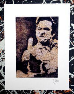 Johnny Cash - signed pop art canvas print from an original painting by Headon Art. #johnnycash #popart #headonart