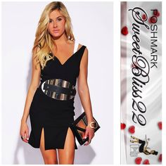 ‼️Sweetheart Neck Double Slit Party Midi Dress‼️ All eyes are guaranteed to be on you in this little black dress! Stylish yet comfortable, and sexy. This is the one item you can't afford not to have! Dress is brand new, does not have tags Belt not included! Dresses Midi