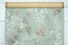 1940's Vintage Wallpaper Beautiful Botanical Ferns and Flowers | eBay (wallpaper panels in living room)