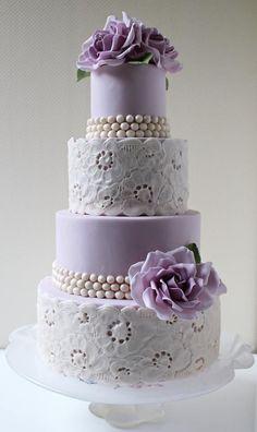 Purple Roses Lace Cake