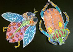 Pastel Resist Bugs--I would use oil pastels.