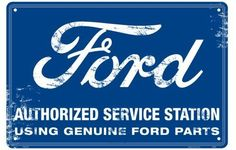 Ford Authorized Service Station Metal Nostalgia Sign by Tag City. $12.95. A sign from back in the days when service stations still provided service.  Any Ford old timer will love this metal replica with a worn look.  Made of aluminum and embossed detail.  Measures 12 inches by 18 inches.