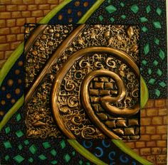 copper relief with shaded mat by jodie hurt, via Flickr
