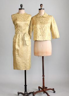 1960s Gold Brocade Cocktail Dress and Jacket - this has Doris Day written all over it!