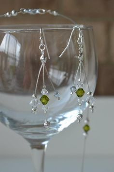 Green and clear crystal wire earrings Wire Earrings, Clear Crystal, Crystals, Green, Crystal, Wire Wrapped Earrings, Crystals Minerals