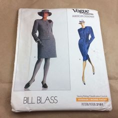 This Bill Blass American Designer Vogue pattern 2191  is for a semi-fitted, straight, lined dress, above or below mid-knee, has mock bands, slightly extended shoulders, shoulder pads, welt pocket, front button closing and long, two-piece sleeves with button vent. A: contrast, detachable cuffs. Purchased flower.  #BIllBlass