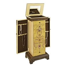 Masterpiece Antique Parchment Hand Painted Jewelry Armoire - http://delanico.com/jewelry-armoires/masterpiece-antique-parchment-hand-painted-jewelry-armoire-558262164/