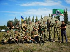 """Chechen battalion """"Djohar Dudaev"""" and commander Isa Munaev. Some of them are immigrants from all over Europe."""