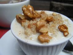 Quinoa Breakfast with Walnuts! Will keep you full and good for you. www.monimeals.com