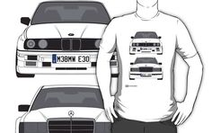 How perfect! His two favorite cars! Mercedes-Benz 190E 2 3-16 vs E30 BMW M3 by RexDesigns