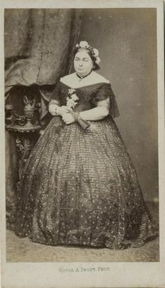 CDV: Portly woman in a spotted hooped dress by Prout of Baker St, London c.1860
