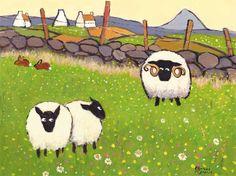 Ewe Looking At Me Rambo - Thomas Joseph Sheep Cards, Sheep Paintings, Sheep And Lamb, Pet Rocks, Naive Art, Pet Birds, Folk Art, Art Drawings, Illustration Art