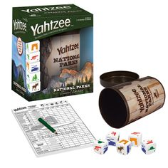It's the only game where family and friends can enjoy classic yahtzee game play with a special national parks twist. Yahtzee national parks. It's america's all-time #1 dice game with a national parks twist. Includes a dice cup that holds all components, 5 custom dice, score pad, pencil and Fun Facts about the environment and how you can help to preserve the national parks.