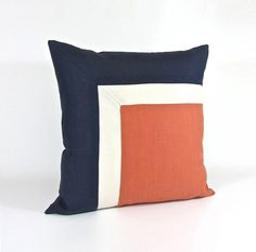 Side Square Modern Colorblock Pillow Cover Navy/ by celineandkate Sewing Pillows, Diy Pillows, Decorative Pillows, Throw Pillows, Patchwork Pillow, Quilted Pillow, Cushion Covers, Pillow Covers, Scatter Cushions