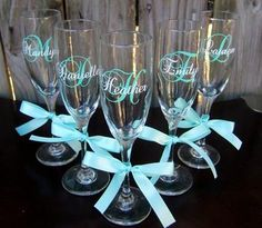 6 Monogrammed Wedding Glasses, Bachelorette /Bridesmaid Champagne Flutes, Set of 6 #Glimpse_by_TheFind