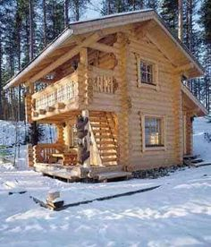 small cabin by Kontrahirsi, Finland Tiny Cabins, Tiny House Cabin, Cabins And Cottages, Log Cabins, Log Cabin Living, Log Cabin Homes, Little Cabin, Little Houses, Cabins In The Woods
