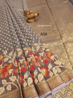 Pure handloom Organza Saree with Tilfi Work Borders ! **The World of Pure Fabrics**   Organza Saree, Silk Sarees, Delhi Ncr, H Style, Chandigarh, Indian Wear, Wedding Styles, Pure Products, Mumbai