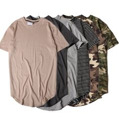 Hi-street Solid Curved Hem T-shirt Men Longline Extended Camouflage Hip Hop Tshirts Urban Kpop Tee Shirts Male Clothing 6colors