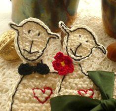 Mr. and Mrs.Sheep Crochet Coasters Wedding by MonikaDesign on Etsy