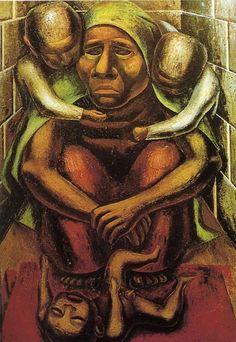 David Alfaro Siqueiros (1896 - 1974) - pintor y militar mexicano, forma de pintar es esquemática. Siqueiros intentaba encontrar un dinamismo en la figura para crear movimiento. Siempre buscaba teorías para experimentar en ellas.