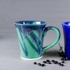 Coffee mug wheel thrown pottery unique coffee mug Aqua Mint Green Ceramic Coffee Cup
