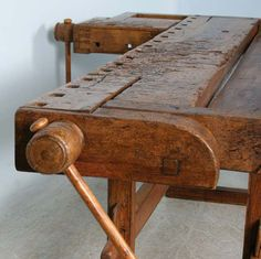 View this item and discover similar  for sale at 1stdibs - This rustic carpenter's workbench has 2 vices which add to the intriguing look and character of the piece. Workbenches such as this are often used as sofa Sofa Tables, Cabinet Makers, Wooden Tables, Outdoor Furniture, Outdoor Decor, Carpenter, Woodworking, Rustic, Antiques