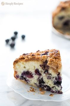 Blueberry Buckle ~ Blueberry buckle recipe, an old-fashioned single layered cake, peppered with blueberries, and topped with a streusel topping. ~ SimplyRecipes.com