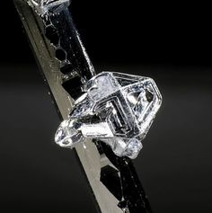 Native tellurium crystal onsylvanite. Picture width 2mm.