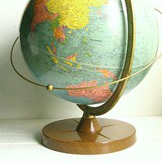 """1962 Replogle Satellite Orbit Ring Globe ........ 12"""" Reference Globe Full Meridian Gustav Brueckmann. $121.00, via Etsy."""